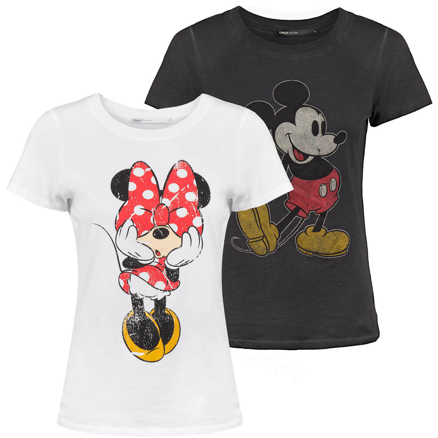 ONLY Damen T-Shirt Mickey Minnie Mouse Disney Shirt Top tailliert Front Print