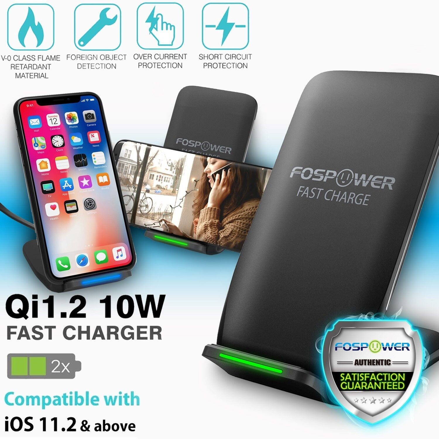 Qi Fast Wireless Charger Charging Dock Pad for iPhone XS Samsung Galaxy S9 Note9