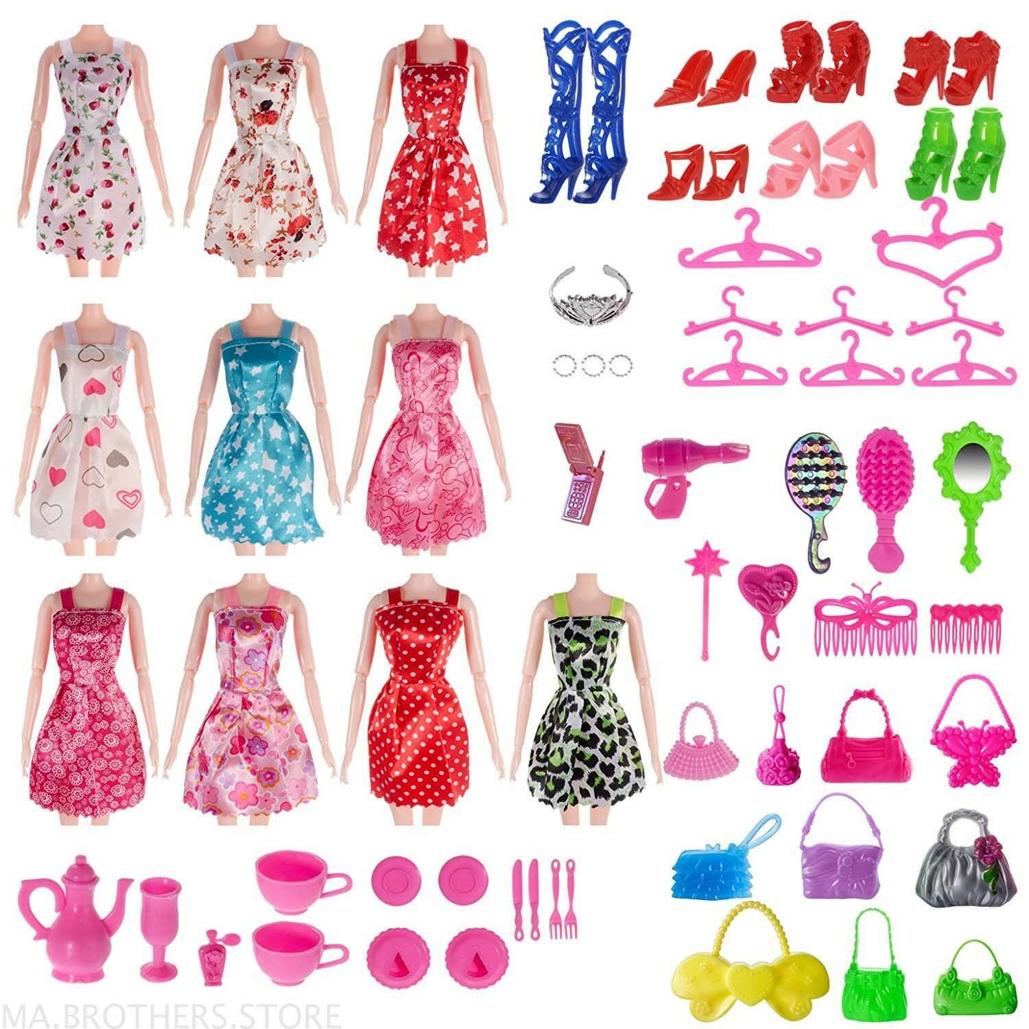 Купить Unbranded - 120 PCS Doll Clothes Lot Party Gown Outfits Barbie Dress Accessories Xmas Gift