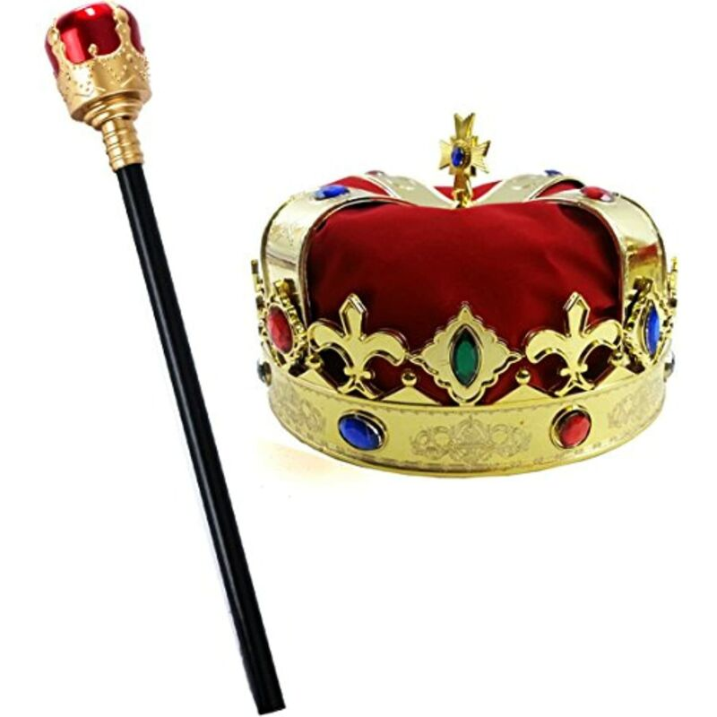 Tigerdoe Kings Crown and Scepter - King Costume Accessories - Royal Costumes -