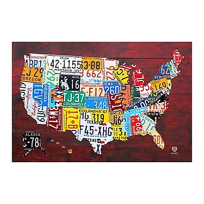 License Plate Map Of The Us Poster Choice Of Frame  36X24