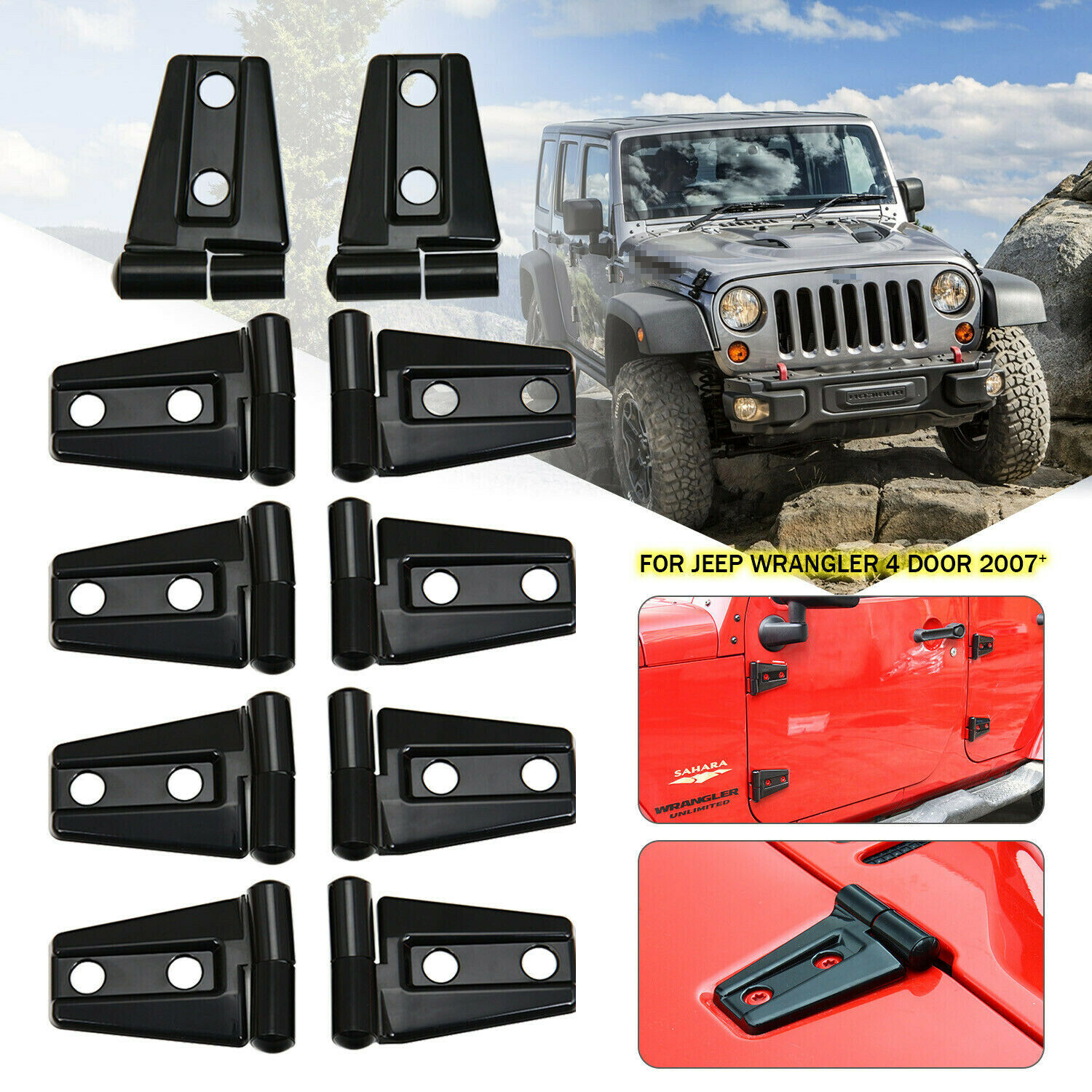 Jeep Wrangler Accessories 2017 >> Details About Hood Door Hinge Cover For 2007 2017 Jeep Wrangler Jk Jku Unlimited Accessories