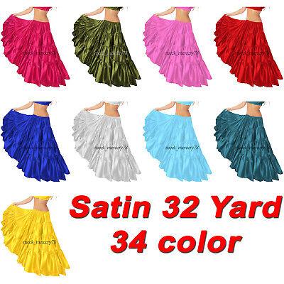 Satin 32 Yard 4 Tiered Rock Spezielle Bauchtanz Röcke Flamenco Kostüme S30 Bauchtanz Satin Röcke
