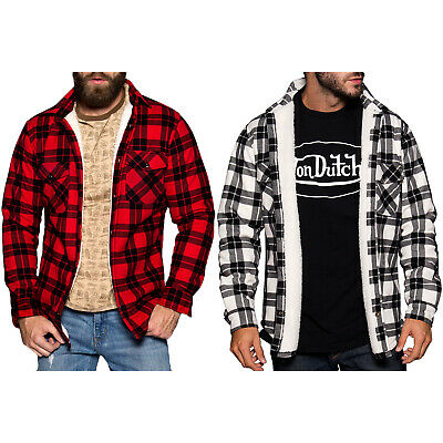 Von Dutch Men's Warm Sherpa Lined Long Sleeve Flannel Shirt