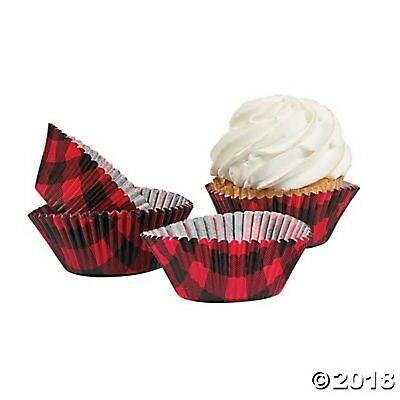 BUFFALO PLAID Cupcake Liners Cups Wrappers Red Black Check Lumberjack - Black Cupcake Liners