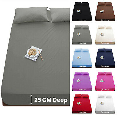 Extra Deep 25cm Full Fitted Sheet Bed Sheets Single Double King Super King Size