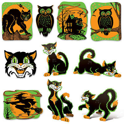 10 Halloween Hanging Vintage Style Fluorescent Cutouts haunted house decorations (Haunted Halloween Decorations)