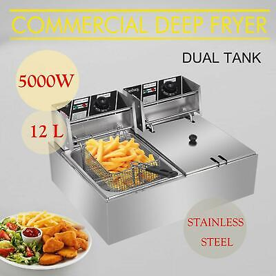 12.7qt Commercial Electric Deep Fryer 2 Tank Stainless Steel Frying Machine 5kw