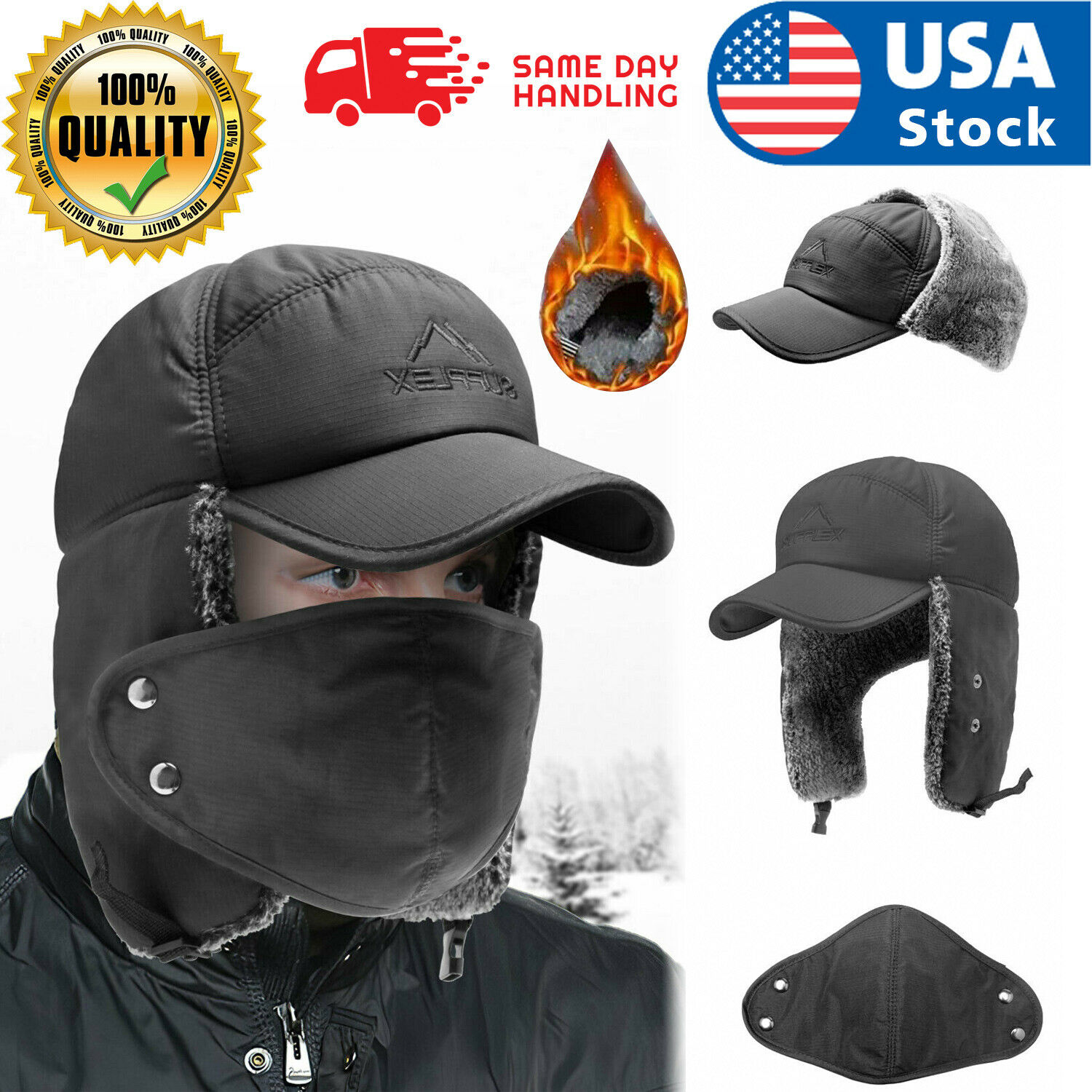 US Winter Face Mask Aviator Hat Cover Trooper Bomber Ear Flap Ski Windproof Cap Clothing, Shoes & Accessories