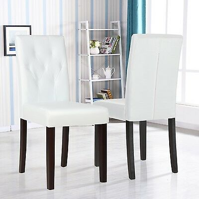 Set of 2 Ivory White Leather Dining Room Chair Kitchen Dinette w/Tufted Backrest