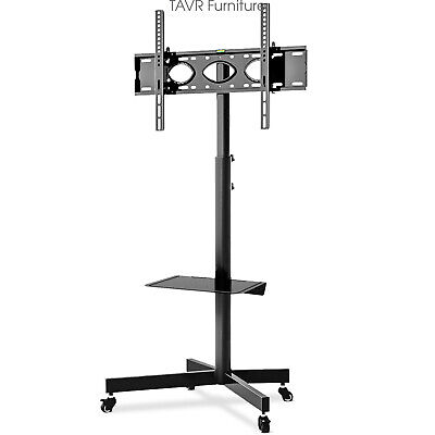 Rolling TV Stand with Locking Wheels and Mount for Most 32-60 Inch LCD LED TVs Lcd Tv Stands With Mount