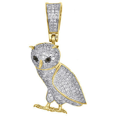 10K Yellow Gold Genuine Diamond Standing Owl Bird Pendant 1.20