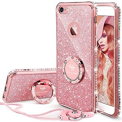 Details about iPhone 6s Plus Case, Glitter Cute Phone Case Girls with  Kickstand, Bling Diam