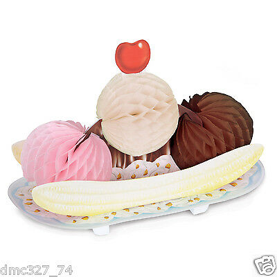 1950s Grease Party Ice Cream Social Decoration Centerpiece TISSUE BANANA SPLIT (1950s Party)