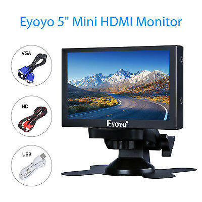 "5"" Small HDMI VGA BNC Monitor 800x480 Car Rear View Security TFT LCD  400cd/㎡"