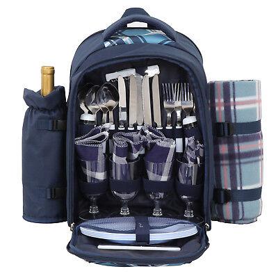 Picnic Cooler Bag Set - 4 Person Picnic Backpack Bag Compartment Wine Holder Plates W/Cutlery Set&Cooler