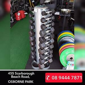 NEW 1-to-10KG Hex Dumbbells with Vertical Tree PACKAGE Osborne Park Stirling Area Preview