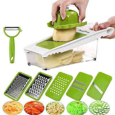 Mandoline Slicer Fruit Vegetable Cheese Grater Shredder Chopper Peeler 5 Blades