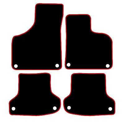 Audi A3 Tailored Car Mats 2003   2012 Black With Red Trim  Clips In All Mats