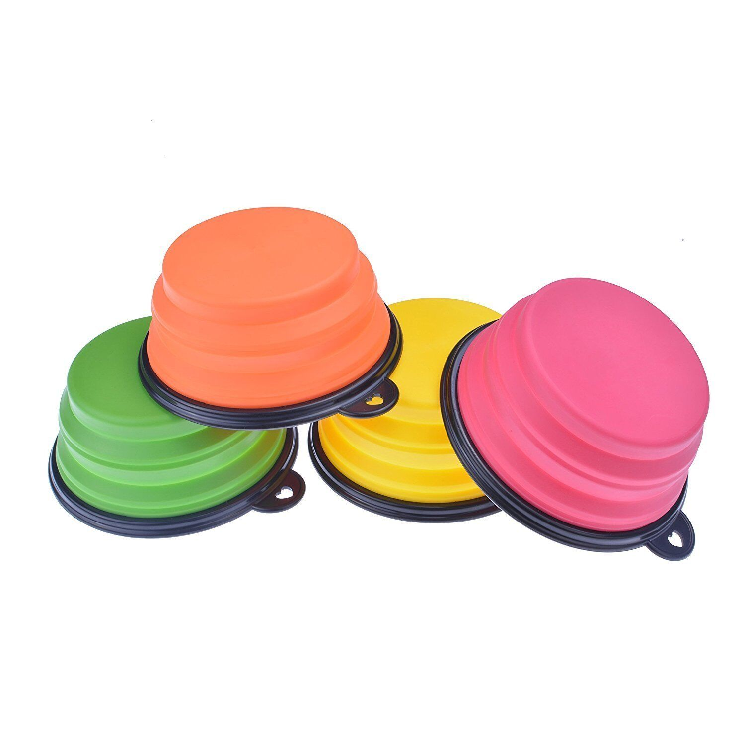 4 Portable Travel Collapsible Foldable Pet Dog Bowl for Food & Water Bowls Dish Dishes, Feeders & Fountains