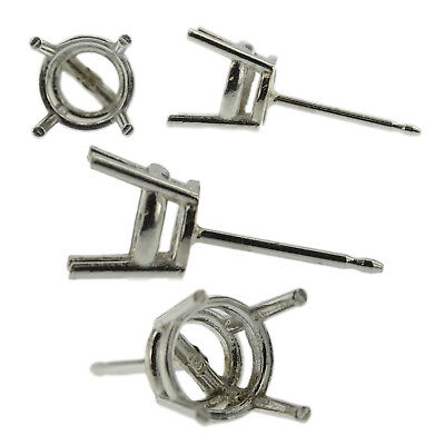 Platinum Round Stud Earring Mounting Setting Push Back Post 4 Prong