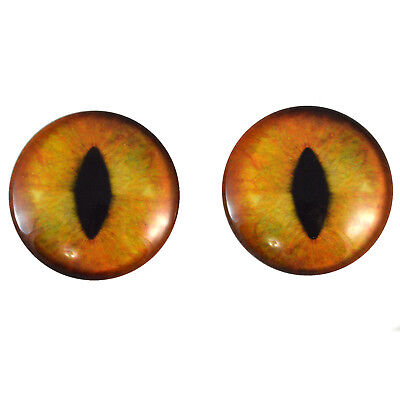 Jewelry Supply Pair of 40mm Pale Yellow Cat Glass Eyes Cabs Set Sculptures