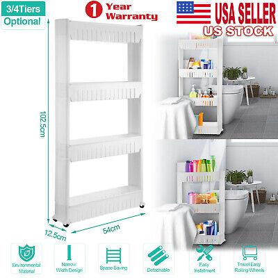 3/4 Tier Removable Kitchen Trolley Rack Holder Storage Shelf Organizer Wheels US 4 Tier Shelf Rack