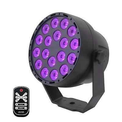 UV LED Black Lights,18x3W Flat Par Stage Lamp DMX512 for Party Bar Club DJ Disco - Black Lights For Parties