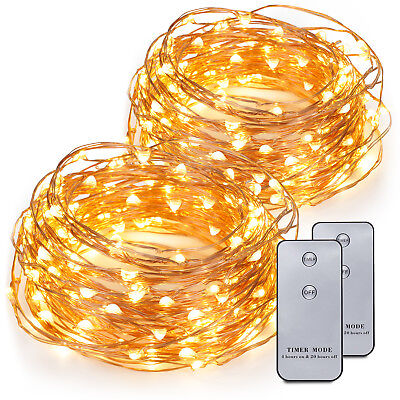 2x 20ft 120 LEDs Battery Operated LED Copper Wire String Fairy Lights Xmas Gift ()