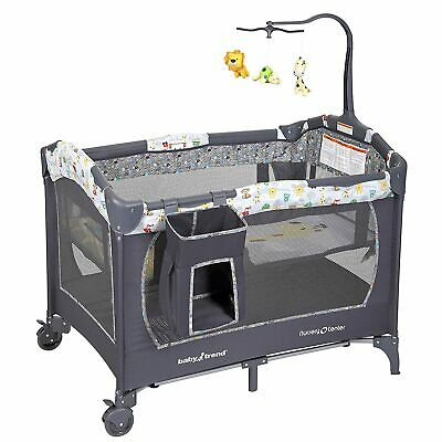 Safari Pack And Play with Storage, Bassinet and Mobile, Storage Bag