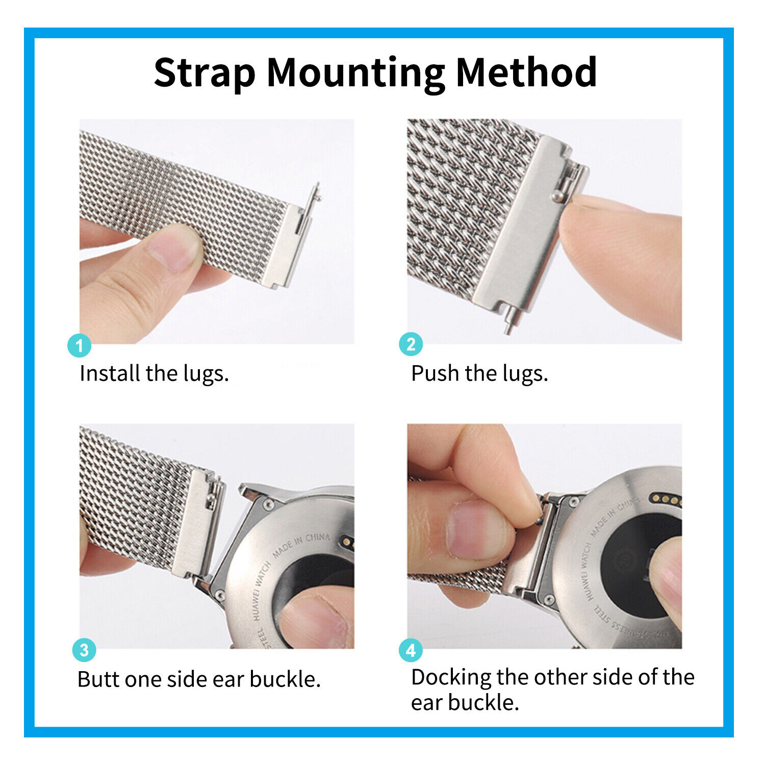 For Samsung Galaxy Watch 3 41mm 45mm Magnetic Milanese Loop Strap Wrist Band Jewelry & Watches