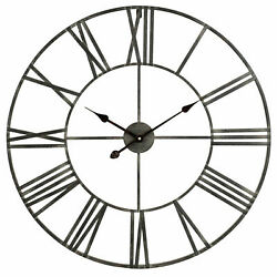 Solange Round Metal Wall Clock Dark Gray Finish High Quality Quartz Movement NEW