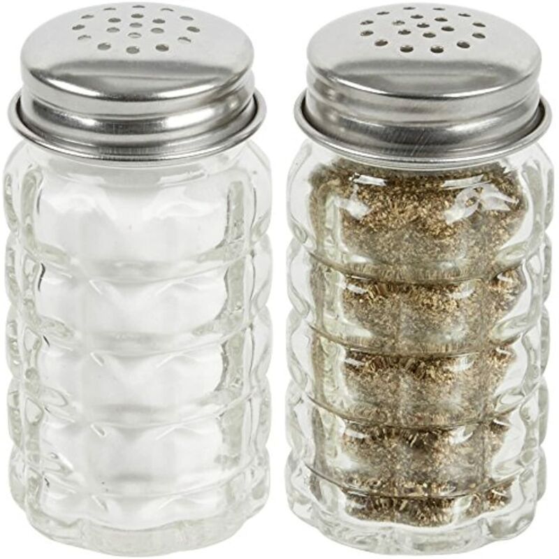 Retro Style Salt and Pepper Shakers with Stainless Tops Set of 2