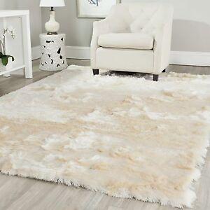 Safavieh Silken Paris Shag Ivory Shag Rug 3' x 5' Area Carpet Indoor Living Room