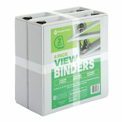"Members Mark 4 pack 3 Ring D Ring Binders 2"" 525 Sheet Presentation View White"
