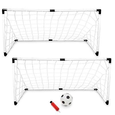 Set of 2 Soccer Goal For Backyard Toddlers Kids Training Play Portable Net 4X2  ()