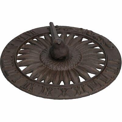 Bird Sundial Ornament Cast Iron Garden Feature Statue Sunflower Clock Metal
