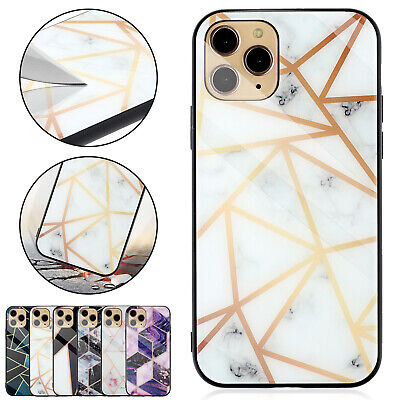 For iPhone 11 Pro Max XS XR 8 7 Plus Luxury Geometric Tempered Glass Case (Geometric Glasses Case)