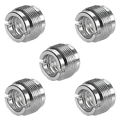 "Neewer 5 Pack 5/8"" Male to 3/8"" Female Microphone Steel Screw Adapters (Silver)"