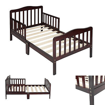 Pine Wooden Baby Toddler Bed Children Bedroom Furniture with Safety Guardrails W