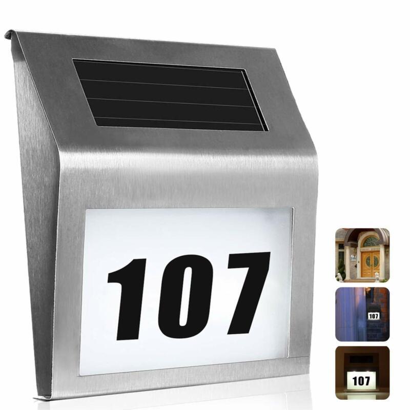 HOUSE ADDRESS SIGN PLAQUE DOOR NUMBER STREET GLASS ALUMINIUM EFFECT SOLAR LIGHT