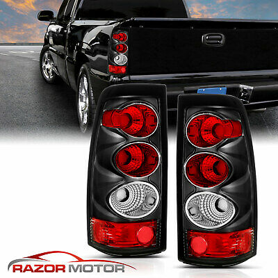2003 2004 2005 2006 Chevy Silverado 1500/2500/3500 Black Clear Tail Lights Pair