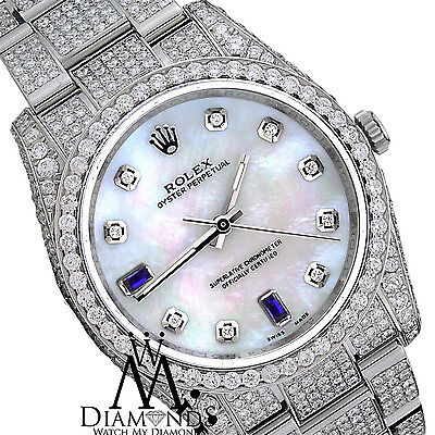 Rolex Oyster Perpetual Genuine Pearl Face Diamond & Sapphires 116000