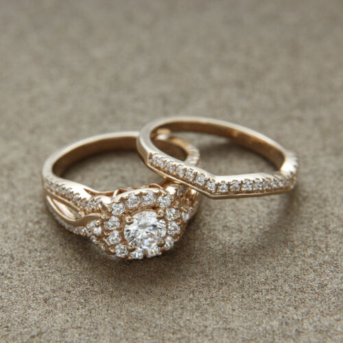 14K Yellow Gold Over Round Diamond Bridal Wedding Engagement