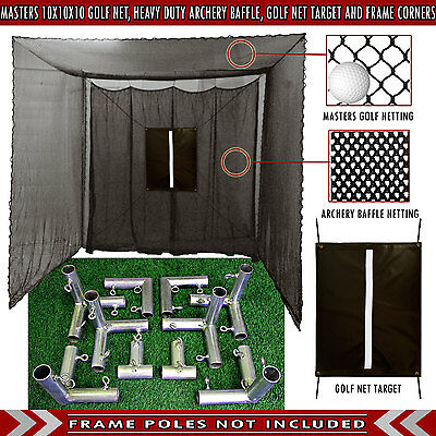 Golf Cage Practice Net 10' x 10' x 10' (#252 Poly) Frame Kit & Baffle Included