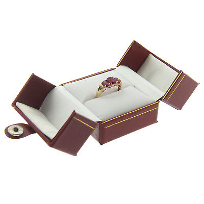 - Red Faux Leather Engagement Ring Box Display Jewelry Gift Box Double Door