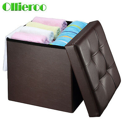 Ollieroo Brown Folding Ottoman Storage Box Seat Chest PU Leather Foot Stool Top