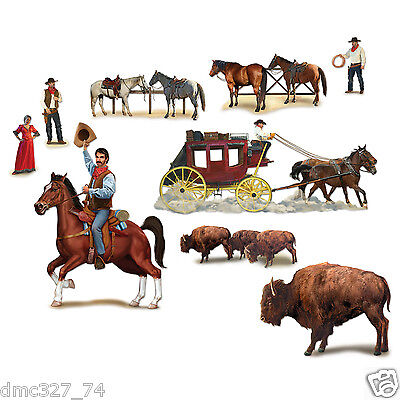 9 COWBOY Western Party Wall Decoration WILD WEST CHARACTER Outlaw Add On Props - Western Prop