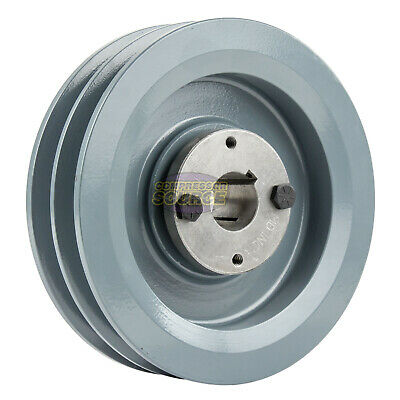 Cast Iron 6.25 2 Groove Dual Belt B Section 5l Pulley With 1 Sheave Bushing