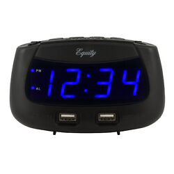 30417 Equity by La Crosse 0.9 Blue LED Display Dual USB Digital Alarm Clock